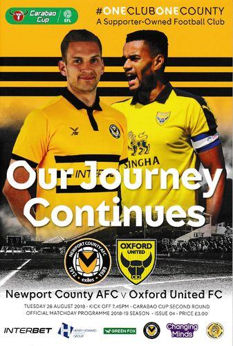 Newport County v Oxford United - Carabao Cup - 28.08.18