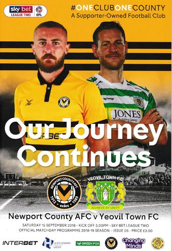 Newport County v Yeovil Town - League - 15.09.18