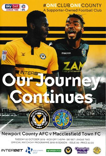 Newport County v Macclesfield Town - League - 02.10.18