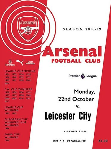 Arsenal v Leicester City - League - 22.10.18