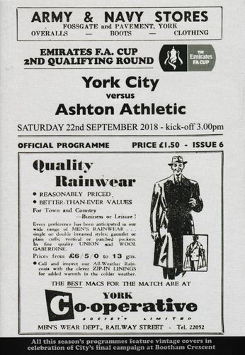 York City v Ashton Athletic - FA Cup - 22.09.18