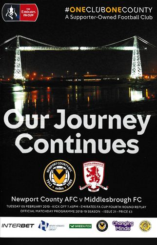 Newport County v Middlesbrough - FA Cup - 05.02.19