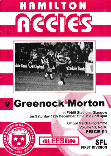 Hamilton Academical v Morton - League - 12.12.98