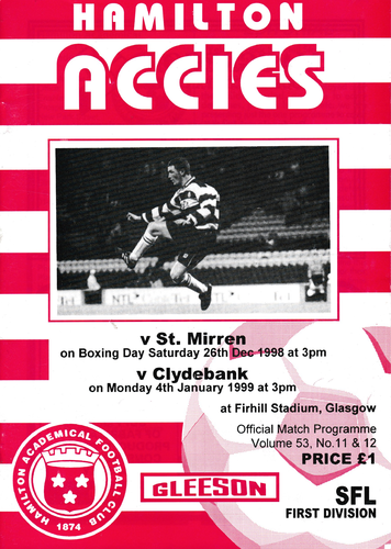 Hamilton Academical v St Mirren / Clydebank - League - 26.12.98 / 04.01.99