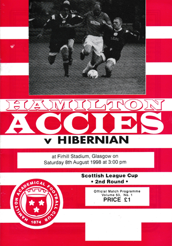 Hamilton Academical v Hibernian - League Cup - 08.08.98