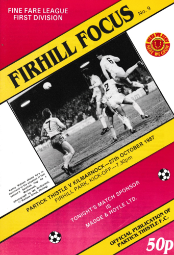 Partick Thistle v Kilmarnock - League - 27.10.87