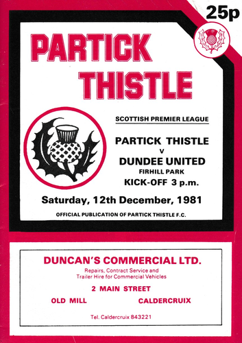 Partick Thistle v Dundee United - League - 12.12.81