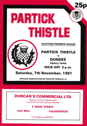 Partick Thistle v Dundee - League - 07.11.81